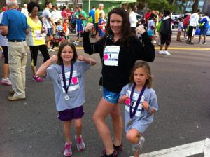 Jessica and girls at 5k